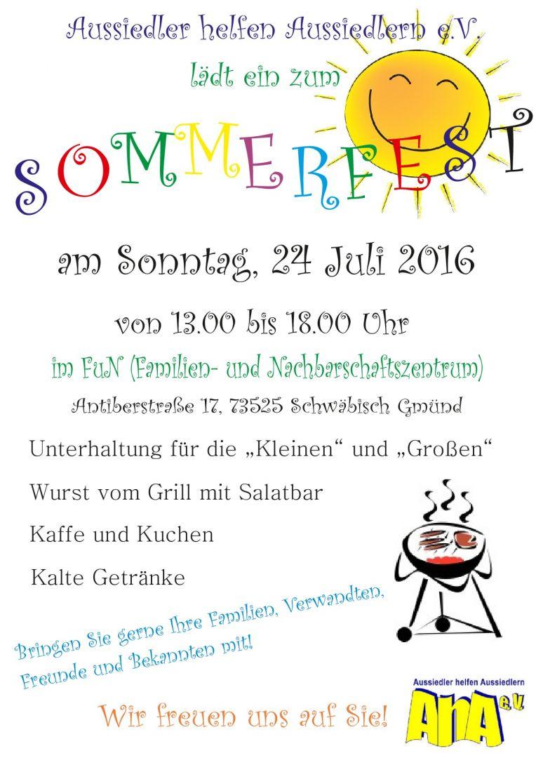 einladung zum sommerfest beim aha e.v. :: vereine-in-gd.de :: das, Einladung